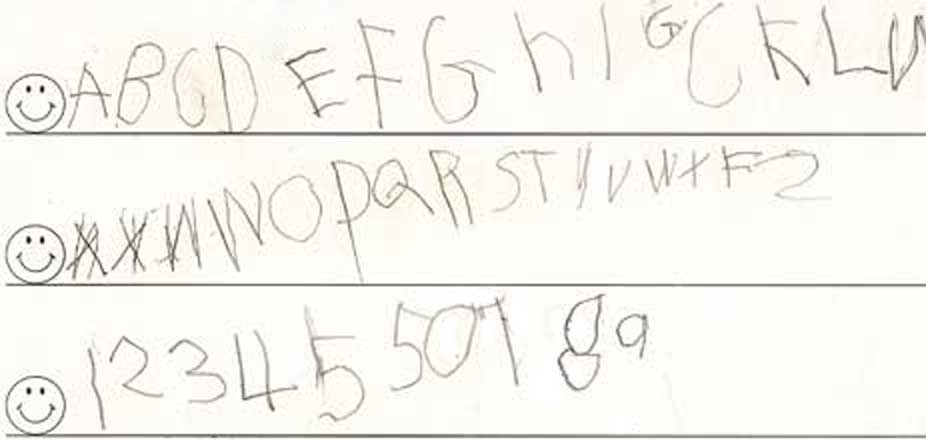 kids handwriting before and